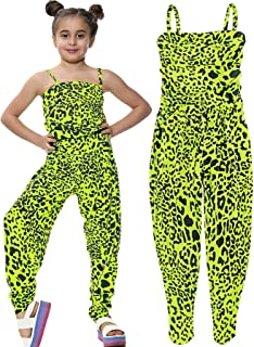 Kids Girls Jumpsuit Leopard Print Neon Yellow Trendy Fashion All in One Playsuit