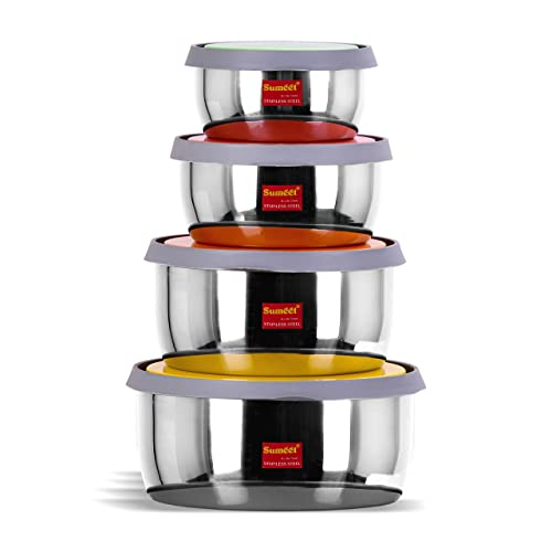 Sumeet Stainless Steel Food Storage Airtight & Leak Proof Containers Set 400ML to 1 LTR, Set of 4pc