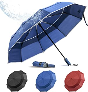BANANA Windproof Folding Rain Umbrella - Compact Durable Portable Travel Size Unbrella Auto Close/Open Double Canopy Vente...