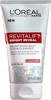L'Oreal Paris Skincare Revitalift Bright Reveal Facial Cleanser with Glycolic Acid, Anti-Aging Daily Face Cleanser to Exfo...