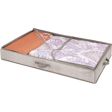 mDesign housse de dessous de lit pour chaussures – range-chaussures avec 12 sections de rangement – accessoire de rangement pour chaussures – avec couvercle transparent et fermeture, couleur : beige