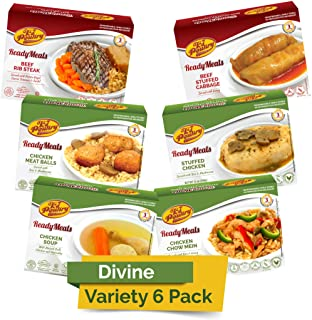Kosher MRE Meat Meals Ready to Eat (6 Pack Divine Variety - Beef & Chicken) - Prepared Entree Fully Cooked, Shelf Stable M...