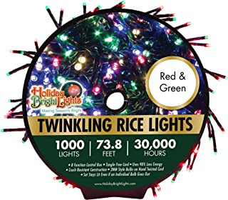 Holiday Bright Lights Christmas 1000L Twinkling Rice Light Reel, Red & Green Light Combo, Great for Holiday Decoration, Nearly 30,000 Hours of Light, Bright Lights with Durable Design, 74 ft. Long