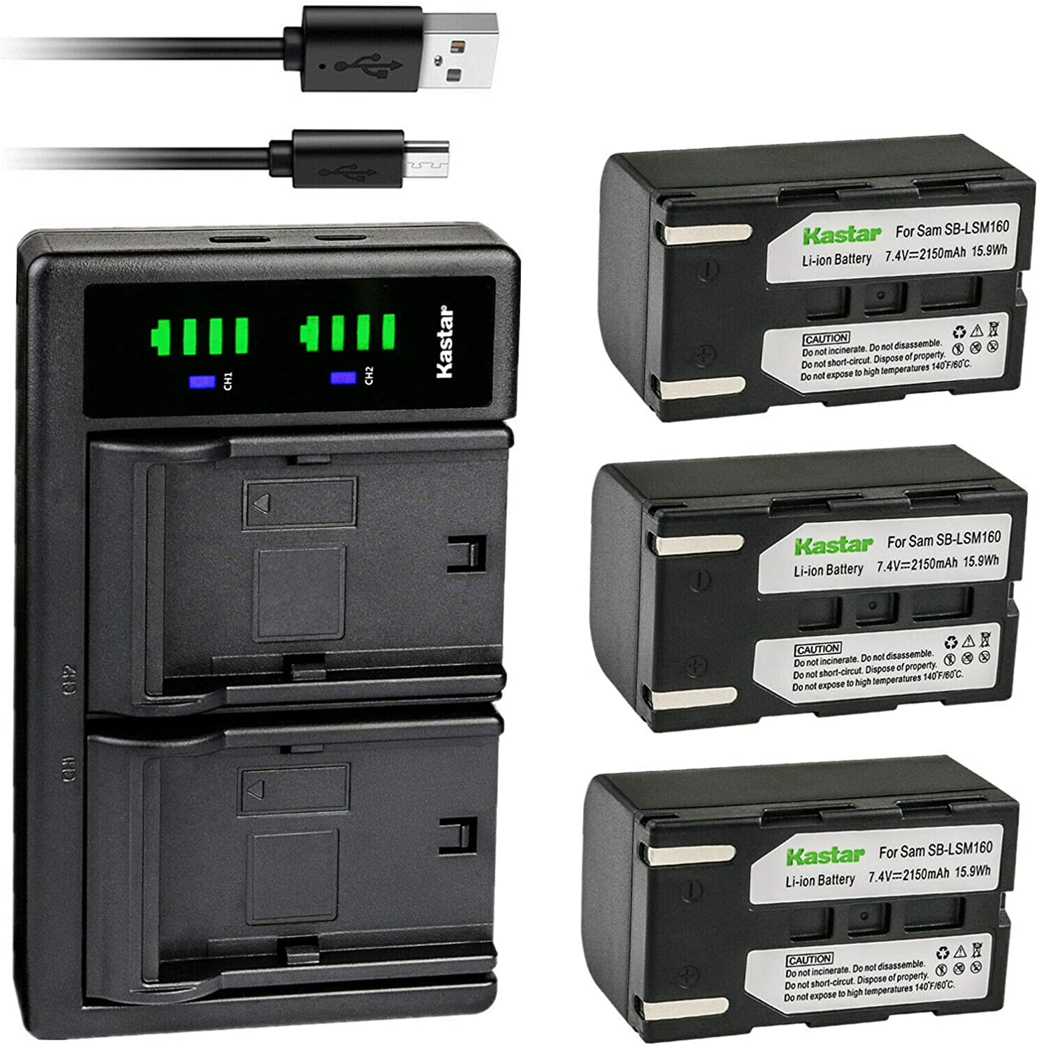 Max 79% OFF Kastar 3-Pack SB-LSM160 Battery and Replacement LTD2 Cheap mail order sales USB Charger