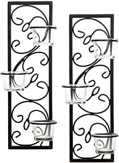 """Hosley Set of Two 13.75"""" High Black Iron Tealight Wall Sconce. Handmade by Artisans. Ideal Wedding, Party, LED Votive Cand..."""