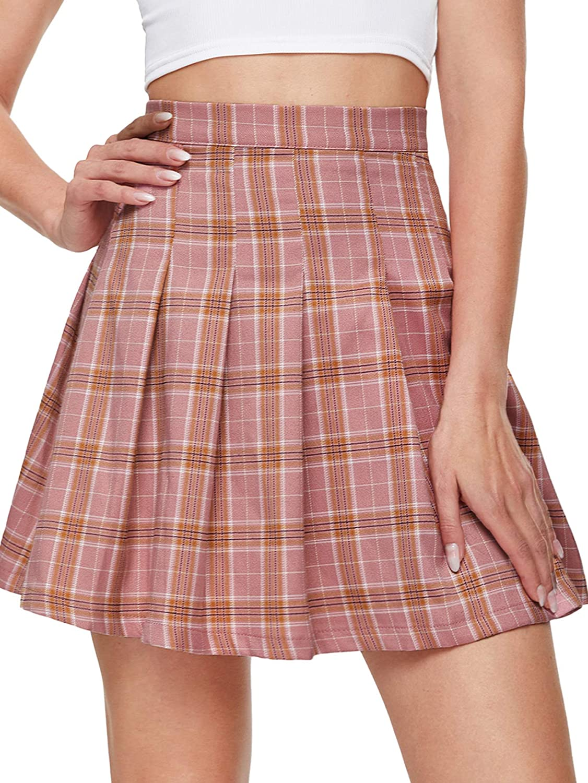 MakeMeChic Women's Textured High Waist Skater Skirt Casual Mini Skirts