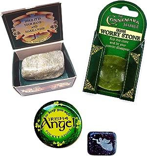J.C. Walsh and Sons Ltd Irish Connemara Marble: SET of 3 Angel & Wishing & Worry Stone