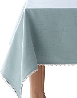 """Lenox French Perle Solid 60""""x120"""" rectangle Tablecloth, Ice Blue"""