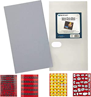 Itoya Deluxe Photo Album 240 4x6 Prints with Premium Fabric Cover (Grey) + Scrapbooking Stickers 4 Pages of Emojis, Quotes, Letters & Numbers