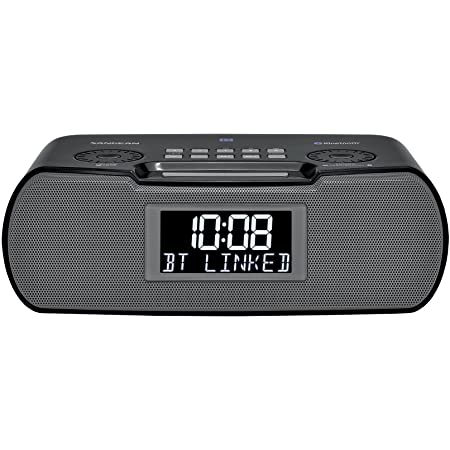 Sangean RCR-20 FM-RDS (RBDS) AM / Bluetooth / Aux-in / USB Phone Charging Digital Tuning Clock Radio with Battery Backup, Black, 13.8x 13.1x 4.9