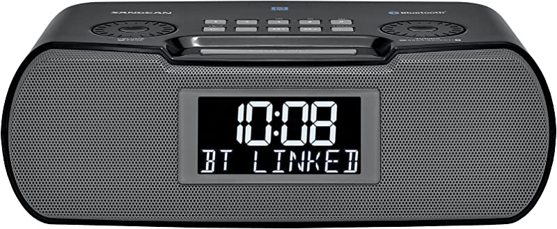 Sangean RCR 20 FM RDS RBDS AM Bluetooth Aux In USB Phone Charging Digital Tuning Clock Radio With Battery Backup