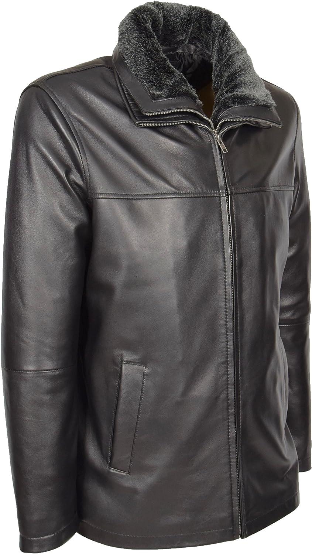 Mens Real Leather Jacket Black Removable Collar Hip Length Parka Coat - William