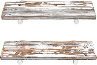 """G·LUCK Rustic Floating Shelves, Wood Floating Shelves, Floating Wall Shelves, Bathroom Shelves, Kitchen Shelves, Home Décor, Rustic White Chipped Paint Look On Real Solid Wood 24x7x1.2"""""""