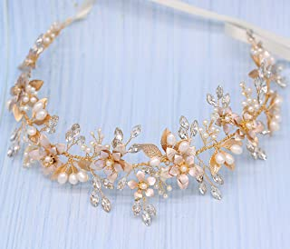 Oriamour Wedding Headband Bridal Headpiece Flower Design With Genuine Freshwater Pearls And Ribbons Hair Accessories For Bride (Gold)
