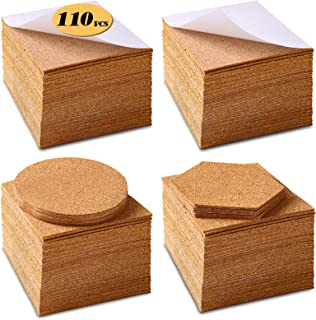 Self-Adhesive Cork Squares 110 PCS Cork Adhesive Sheets 4 x 4 Inch for Coasters and DIY Crafts, Cork Board Squares Cork Ba...