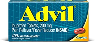 Advil (100 Count) Pain Reliever/Fever Reducer Coated Caplet, 200mg Ibuprofen, Temporary Pain Relief