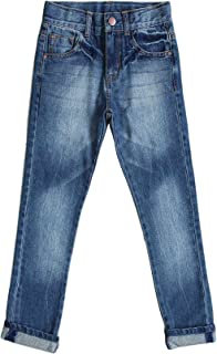 Bienzoe Boy's Cotton Adjustable Waist Slim Denim Pants Blue Jeans