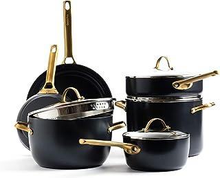 GreenPan Padova Reserve Healthy Ceramic Nonstick, Cookware Pots and Pans Set, 10 Piece, Black