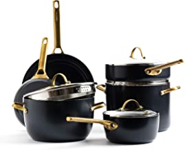 GreenPan Padova Reserve Healthy Ceramic Nonstick, Cookware Pots and Pans Set, 10 Piece, Black