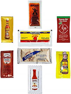 ULTIMATE Hot Sauce Packet Assortment. 8 GREAT SAUCES! Cholula, Tapatio, Crystal, Texas Pete's, Franks, El Yucateco, Louisiana, & Sriracha Travel/Single-Use (7g) Packets- (100 Count)