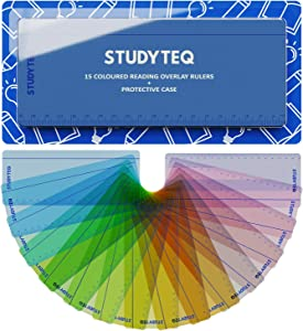 15 x Studyteq Professional Dyslexia Colored Reading Overlays And Rulers + Protective Case | Reading Tracking Rulers for Visual Stress, Dyslexia, Irlens Syndrome, and ADHD