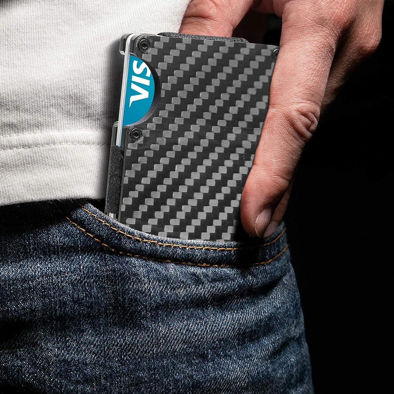 Carbon Fiber Minimalist Wallets For Men - Slim Money Clip Card Holder RFID Blocking Aluminum Metal Case Gifts For Him