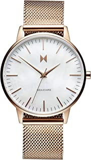 MVMT Boulevard Women's White Mother Of Pearl Dial Ionic Rose Gold Plated Steel Watch - D-MB01-RGPL