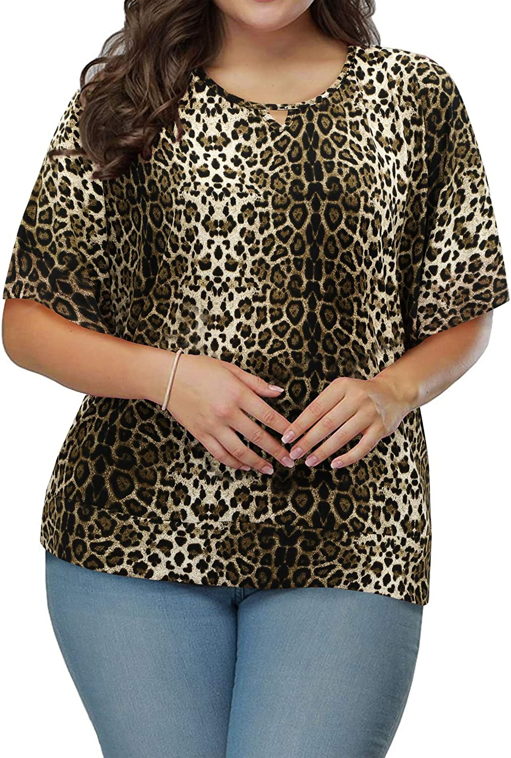 ULTRANICE Women's Summer Plus Size Cold Shoulder Crewneck Tops Casual Short Batwing Sleeve T Shirts