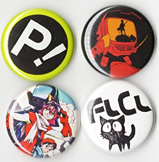 FLCL Button Set 4 PCS - Anime Fooly Cooly - 1 INCH PIN Back