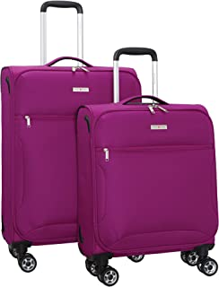 Travel - Expandable Softside Luggage Set With Spinner Goodyear Wheels - Suitcase Sets of 2 Pieces - Soft Case - Fuchsia
