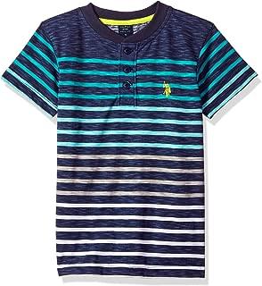 Boys' Short Sleeve Striped Henley T-Shirt