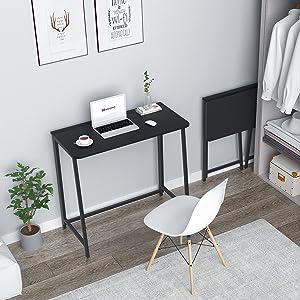 WOHOMO Small Foldable Desk,Dark Black