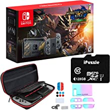 """Newest Nintendo Switch Monster Hunter Rise Deluxe Edition System with Gray Joy-Con - 6.2"""" Touchscreen LCD Display, 802.11A..."""