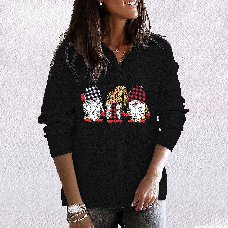Christmas Women'S Gifts,Zipper Pullover Lapel Tops Winter Fleece
