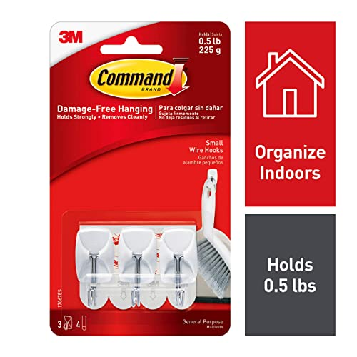 Command Small Wire Hooks, Holds 450 gm, (3 hooks, 4 strips), No Drilling, Holds Strong, No Wall Damage