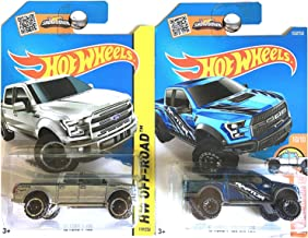 Hot Wheels Ford F-150 F150 Pickup Truck and SVT Raptor in Silver and Blue SET OF 2