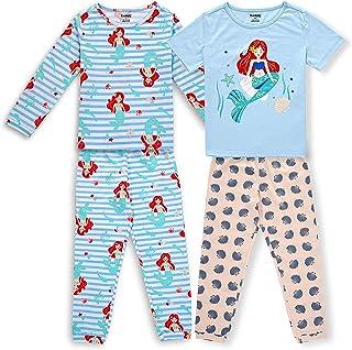 Boys Girls Cotton Pajama Set, 4 Piece Snug Fit Toddler Pjs Soft Comfy Sleepwear for Kids Size 2-8...