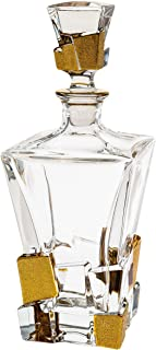 Barski - European Quality - Crystal - Whiskey/Liquor - Square Shaped - Decanter - with Ice Cube Design in Matte Gold - 28 oz. - 11.25