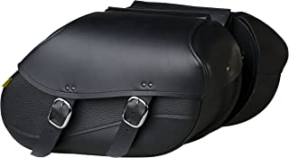 Willie & Max by Dowco 03436 Revolution Series: Large Synthetic Leather Swooped Motorcycle Saddlebag Set, Black, 30 Liter Capacity