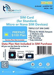 AT&T Compatible Triple Cut SIM Card for Unlimited Data Service by TechNowzi (Formerly Reliable Internet Services)