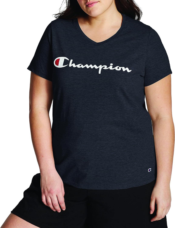 Champion Women's Jersey V-Neck Tee, Script Logo