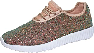 ROXY ROSE Kids/Chidren Fashion Jogger Sneaker - Lightweight Glitter Quilted Lace up Shoes & Elastic Tongue