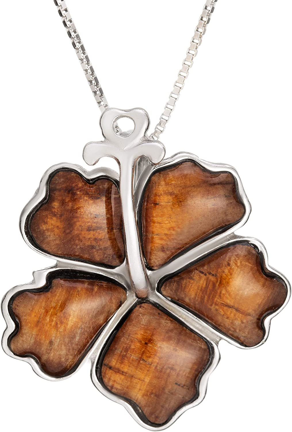 Sterling Silver Koa Wood Hibiscus New products, world's highest quality popular! Pendant Special price Flower Necklace 1 with