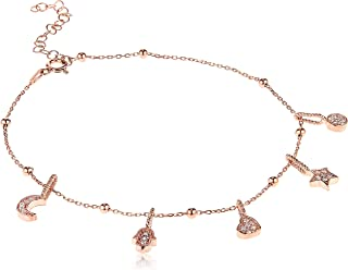 Alwan Silver (Rose Gold Plated) Medium Size Anklet for Women - EE5450R