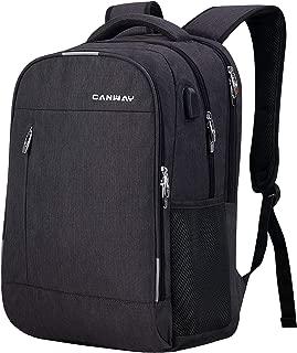 CANWAYビジネスリュック PCバック 大容量 ラップトップ バージョンアップ バックパック USB充電ポート付き 盗難防止 15.6インチPC対応 多機能 耐衝撃 ブラック