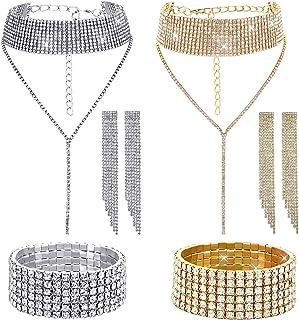 2 Sets Women Rhinestone Crystal Jewelry Set Glitter Rhinestone Stretch Bracelet Necklace Dangle Fringe Earrings
