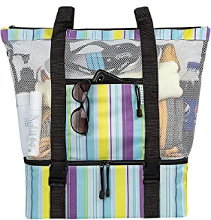 MRYUWB Mesh Beach Tote Bag with Detachable Insulated Cooler, Big Capacity Ultra Practical Travel Bag
