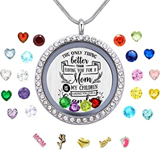 Best Mom Mother Gift, Floating Living Memory Locket Necklace Pendant with Charms & Birthstones for Women