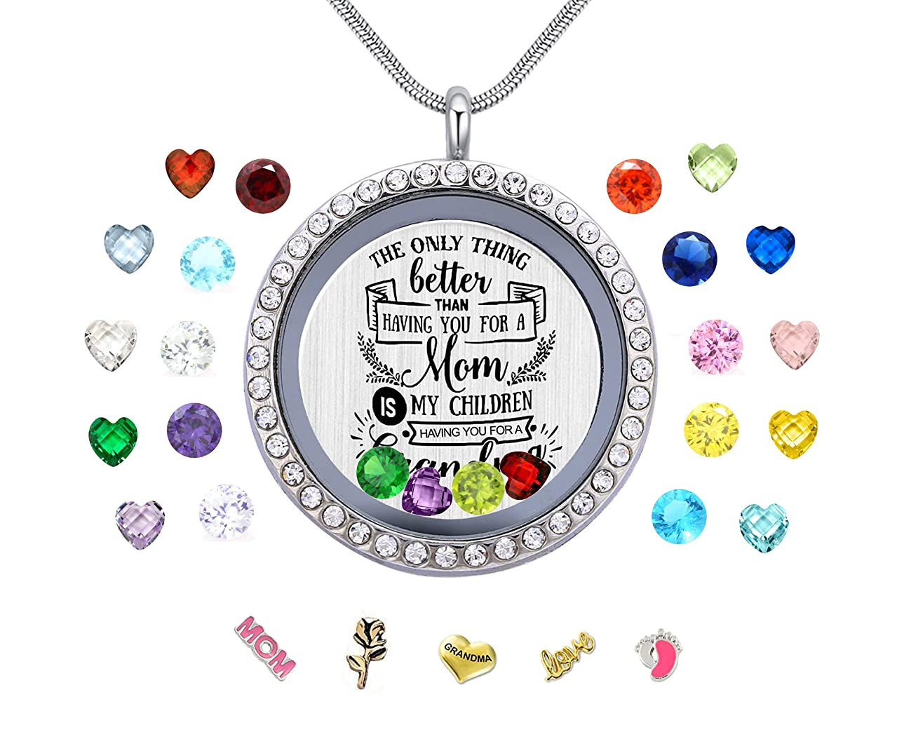 Vinncy Best Mom Mother Gift, Floating Living Memory Locket Necklace Pendant with Charms & Birthstones for Women