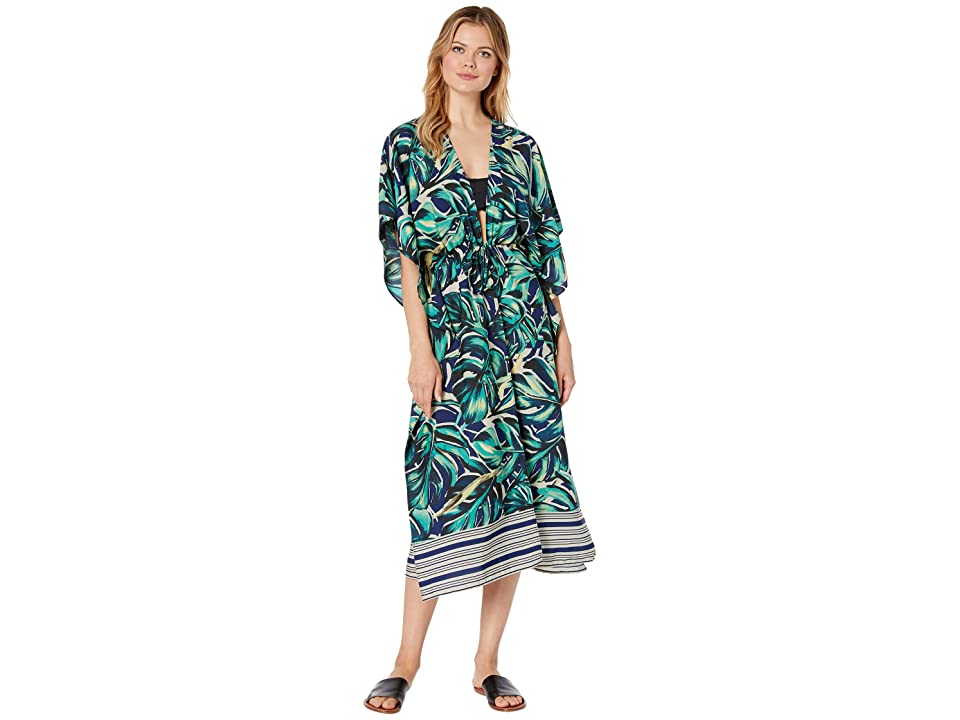 Collection XIIX Overlapping Palm Kimono (Palm) Women's Clothing, Green